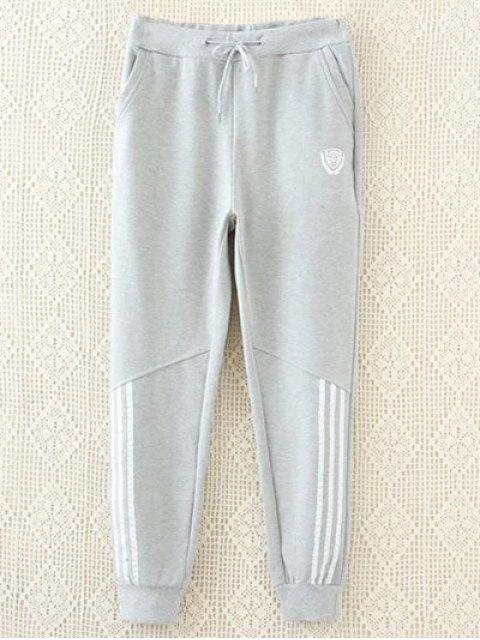best Striped Plus Size Drawstring Sweatpants - GRAY XL Mobile