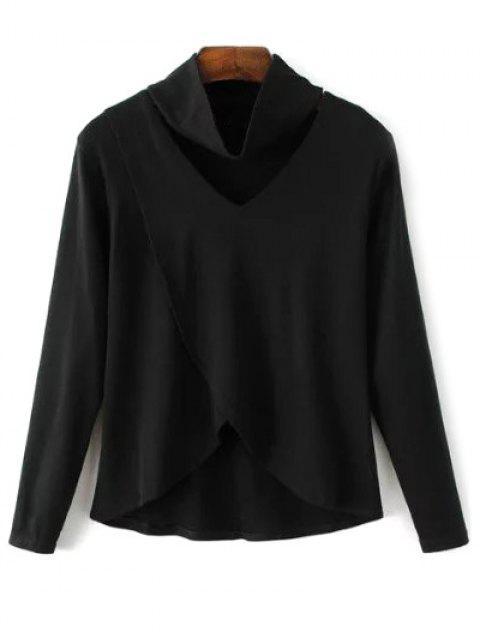 fashion Loose Asymmetric T-Shirt - BLACK L Mobile