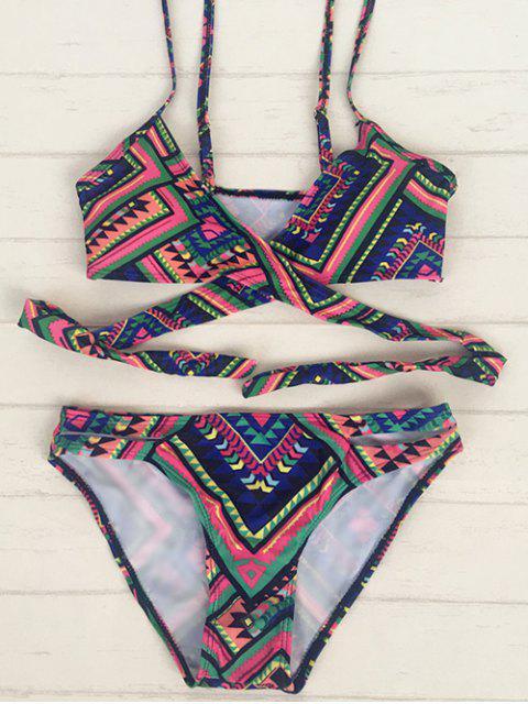 Retro Tribal Print Wrap Bikini - Multicolore S Mobile