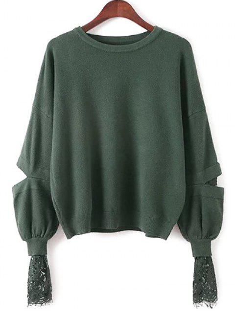 fancy Lantern Sleeve Lace Spliced Sweater - GREEN ONE SIZE Mobile