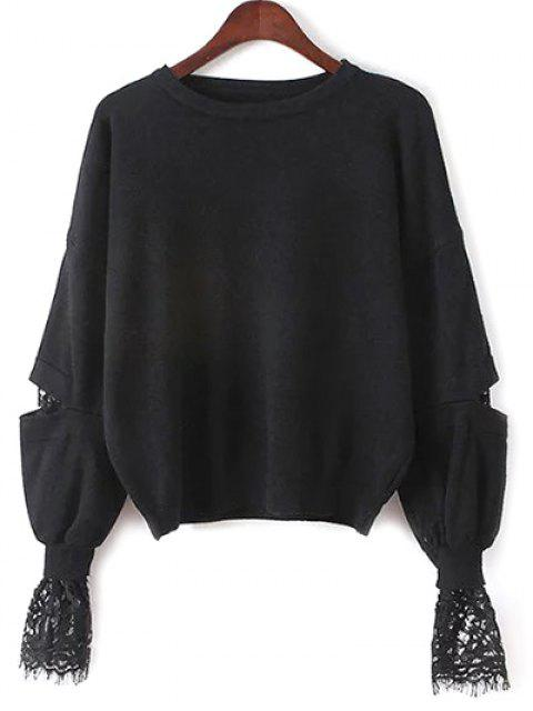 unique Lantern Sleeve Lace Spliced Sweater - BLACK ONE SIZE Mobile