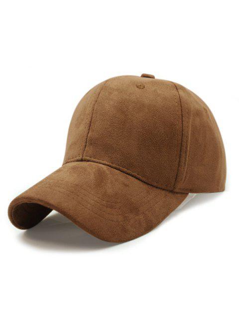 shop Solid Color Faux Suede Baseball Hat - DARK KHAKI  Mobile
