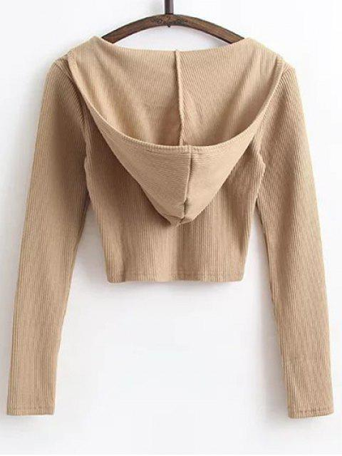 fancy Hooded Crop Top With Drawstring Leggings - KHAKI M Mobile