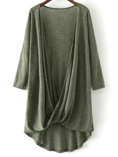 unique Low Cut  Surplice T-Shirt - ARMY GREEN L Mobile