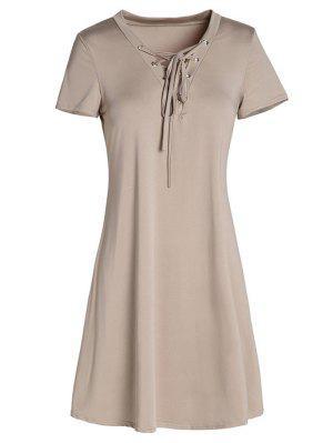 Robe A Ligne à Lacet Haut à Style Vintage - Kaki L