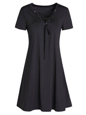 Vestido En A Línea Con Tiras Cruzadas - Negro M
