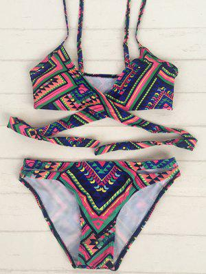 Retro Tribal Print Wrap Bikini - S