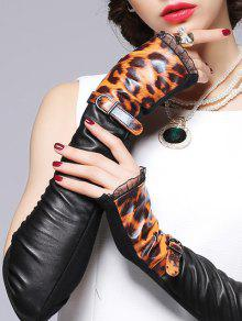 ورمرس الذراع الشتاء جلدي دانتيل الحاشية وحزام مطرز بالنمط الفهد - أسود