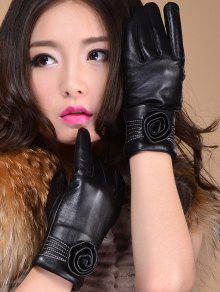 Flower Thicken Short Gloves - Black L