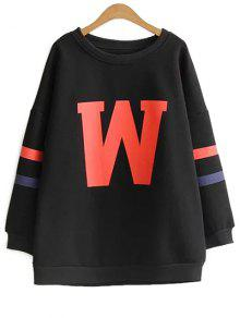 Plus Size Printed Sweatshirt - Black 2xl