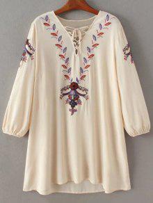 Mini-robe  Avec Cordon Et Broderie à Motif Floral à Lacets - Abricot L