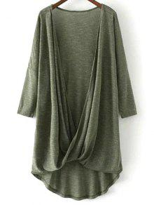 Low Cut  Surplice T-Shirt - Army Green L