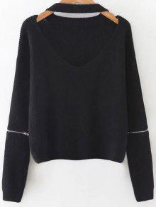 Zipped Oversized Choker Neck Sweater - Black