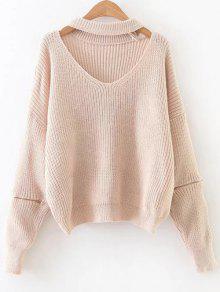 Sweater Col Choker Oversize Manches Zippées - Rose Abricot