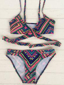 Tribal Print Wrap Crossover Bikini - S