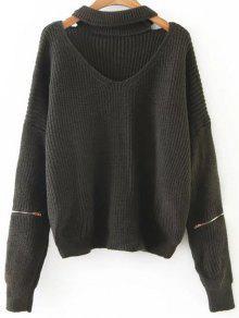 Zipped Oversized Choker Neck Sweater - Blackish Green