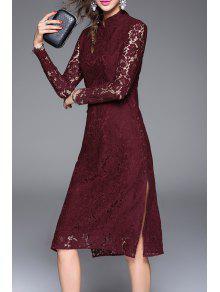 الجانب الشق شيونغسام فستان الدانتيل - نبيذ أحمر L