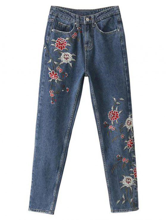 hot Floral Embroidered Relaxed Fit Jeans - BLUE L
