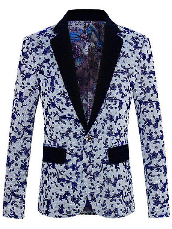 lady Floral Pattern One-Button Lapel Long Sleeve Blazer For Men - GRAY XL
