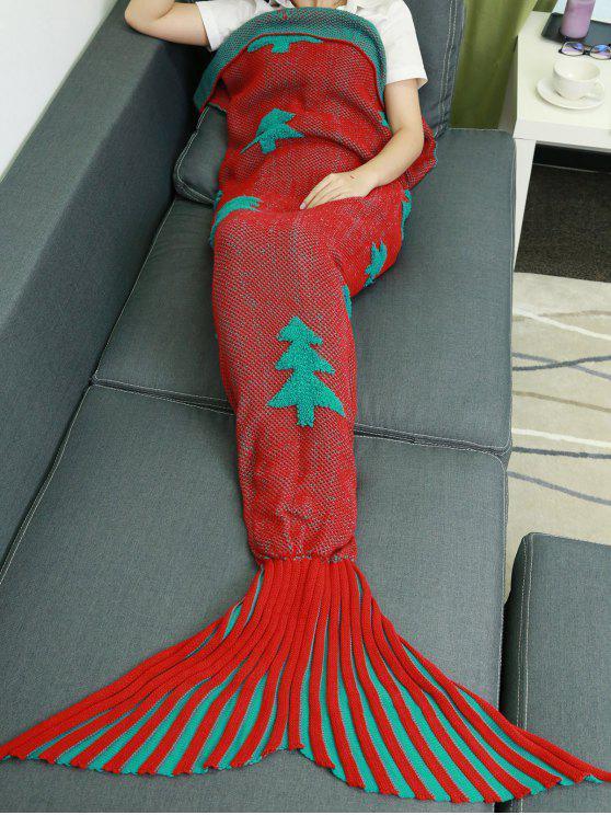 الكروشيه الحياكة أشجار عيد الميلاد حورية البحر الذيل نمط بطانية - أحمر