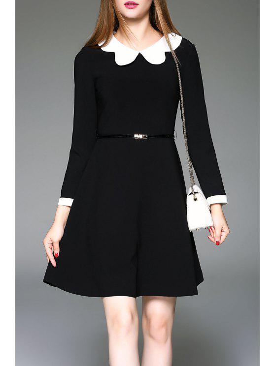 fashion Peter Pan Collared Dress - BLACK L