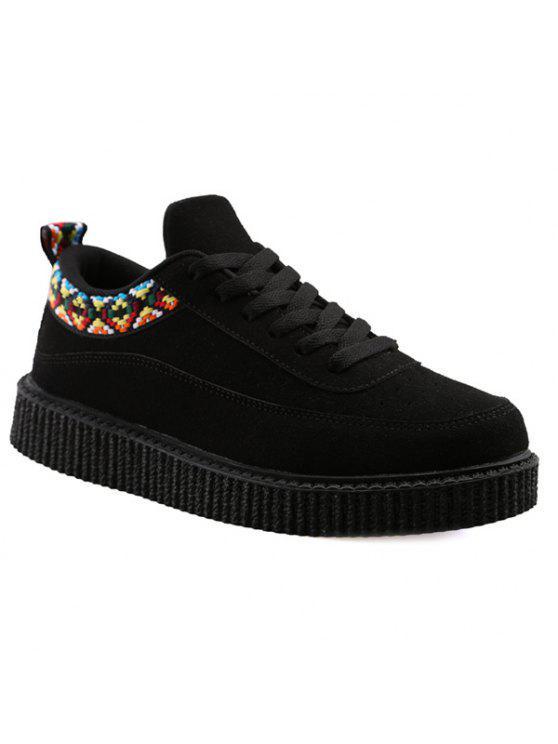 الدانتيل يصل هندسية نمط الجلد المدبوغ أحذية عادية - أسود 40