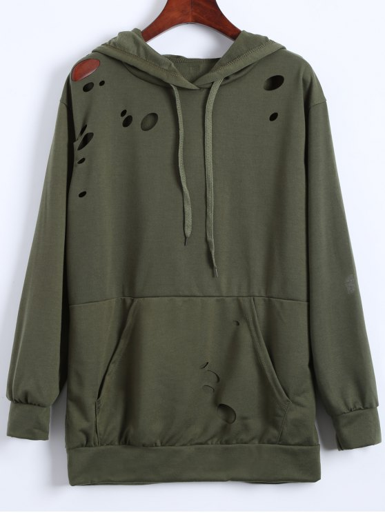 shops Ripped Hoodie - ARMY GREEN M