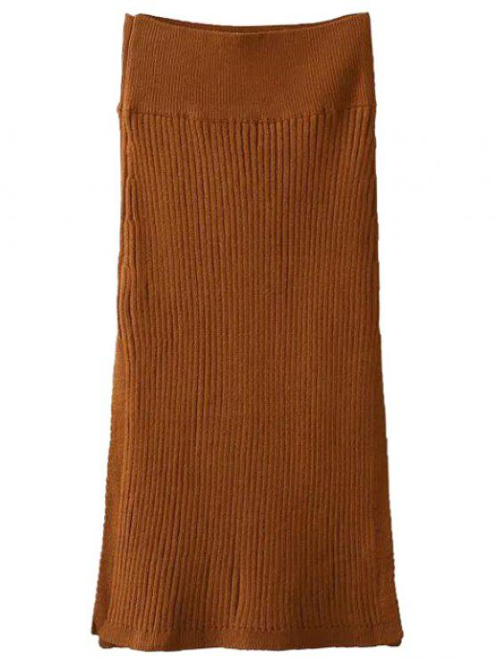 affordable Side Slit Midi Sweater Skirt - BROWN ONE SIZE