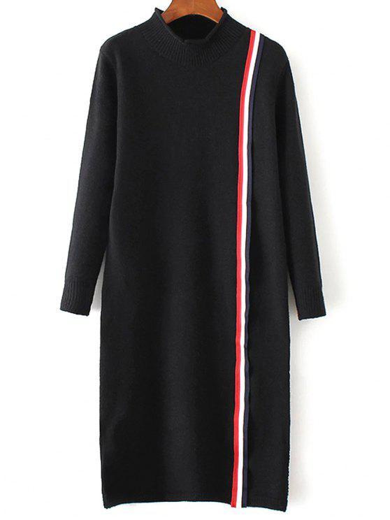 Vestido de tejido colorido de la raya - Negro Única Talla