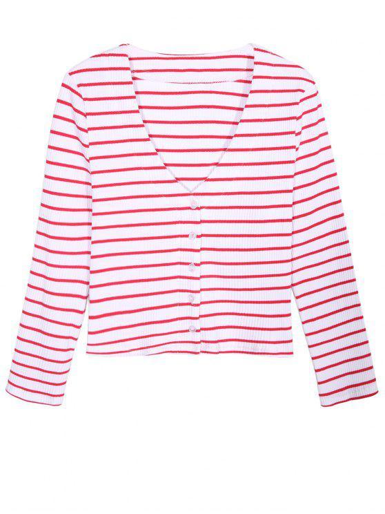 Ribbed Stripe Cardigan - Rouge et Blanc M