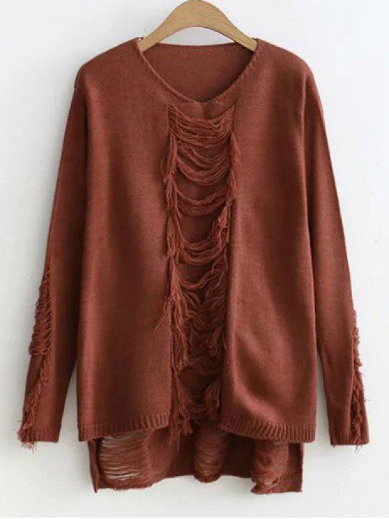 online Ripped High-Low Sweater - COFFEE ONE SIZE