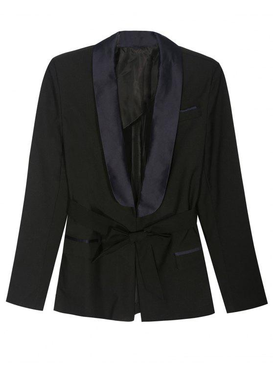 best Pajama Style Belted Blazer - BLACK S