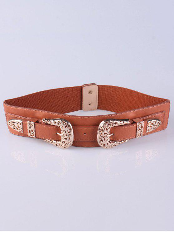 latest Double Pin Buckles Wide Stretch Belt - BROWN