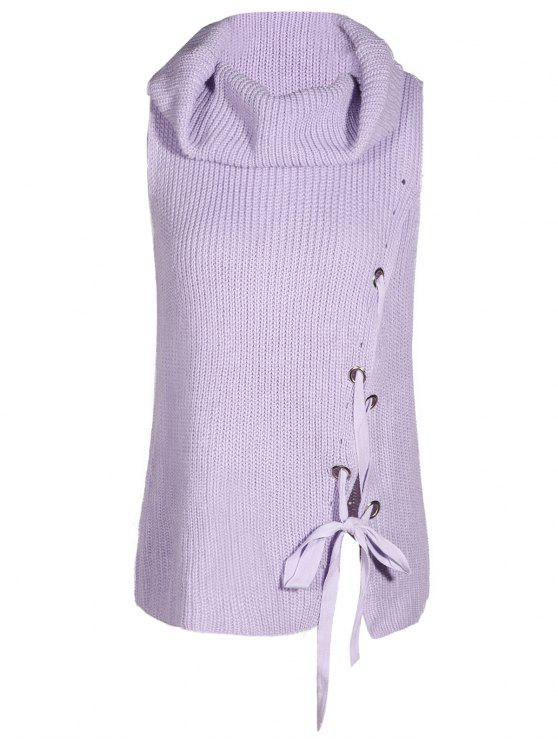 affordable Cowl Neck Sleeveless Sweater - LIGHT PURPLE M