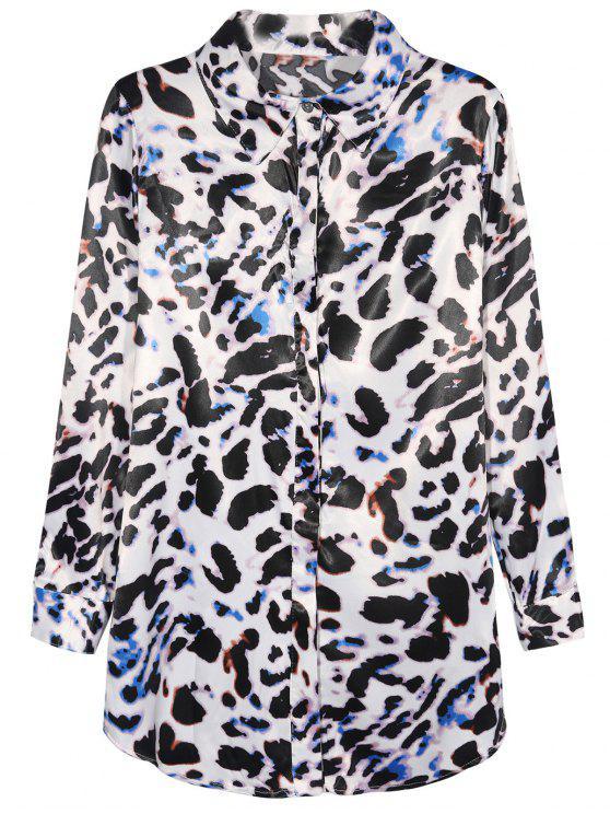 sale Leopard Print Chiffon Shirt - LEOPARD M