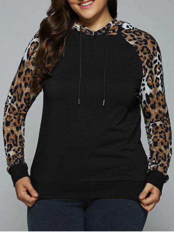 unique Plus Size Leopard Trim Raglan Sleeves Hoodie - LEOPARD 2XL