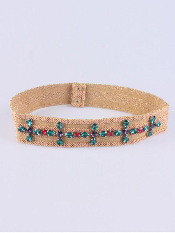 fancy Faux Crystal Knitted W Stretch Belt - LIGHT CAMEL