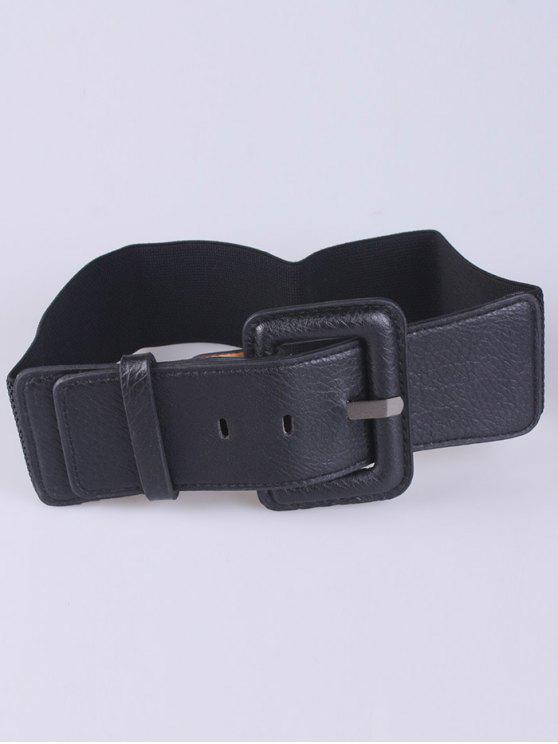 buy PU Pin Buckle Stretch Belt - BLACK