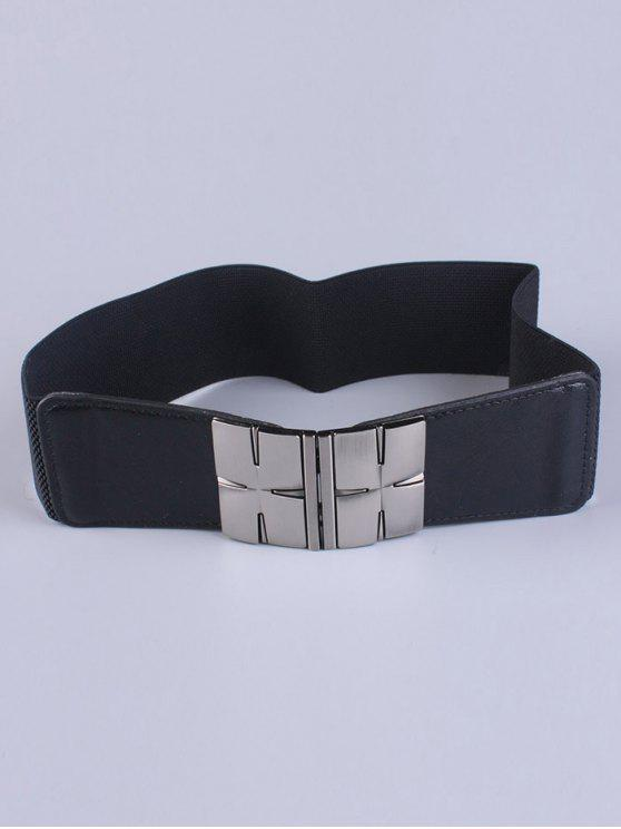 lady Double Metal H Buckle Stretch Belt - BLACK