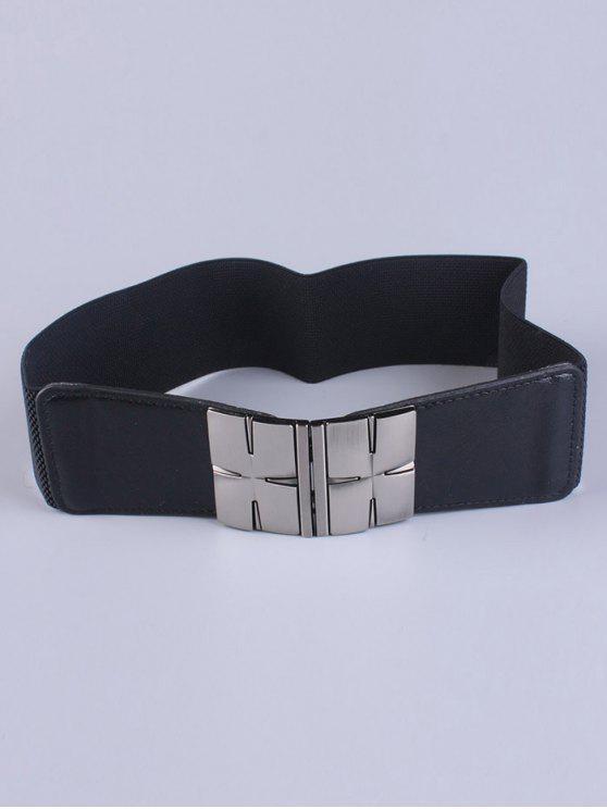 lady Double Metal H Buckle Stretch Belt - BLACK