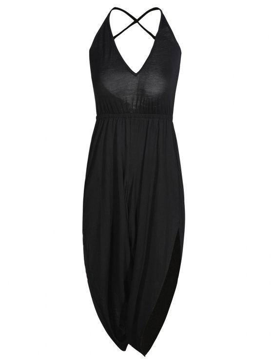 shop Strappy Back Side Slit Jumpsuit - BLACK S