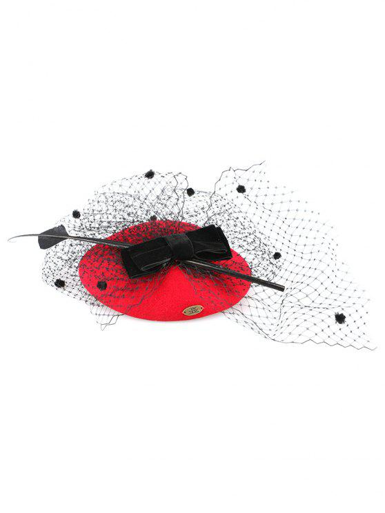 Polka Dot bowknot Veil Fascinator Hat - Rouge