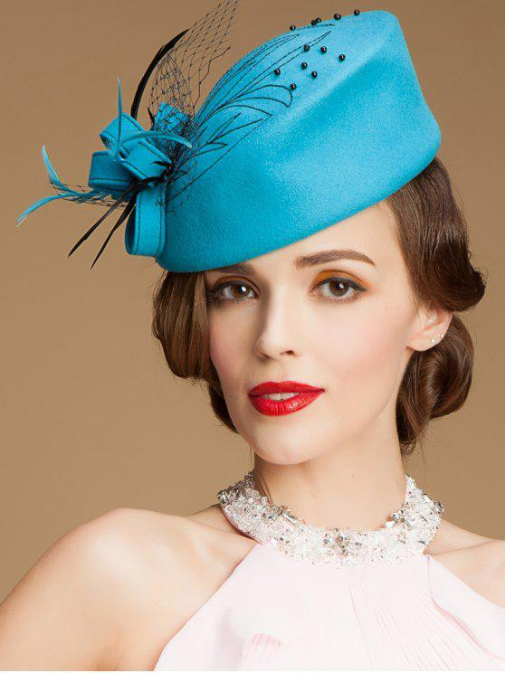 c3216c621aaae 18% OFF] 2019 Feather Veil Beaded Pillbox Hat In AZURE   ZAFUL