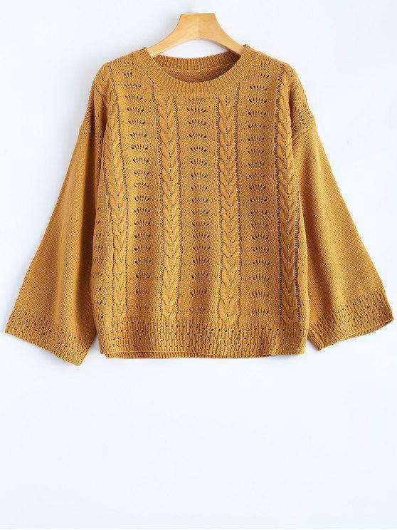 women Round Neck Hollow Out Sweater - EARTHY ONE SIZE