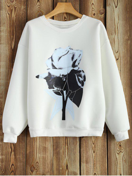 outfit Crew Neck Chinese Painting Print Sweatshirt - WHITE S