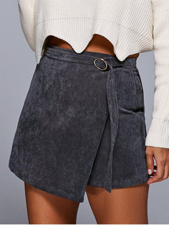 affordable A Line Corduroy Skirt - GRAY S