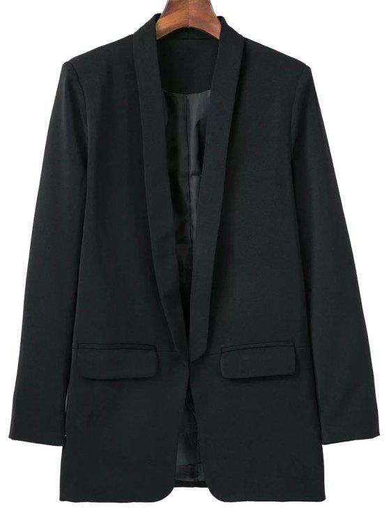 womens Lapel Blazer With Flap Pockets - BLACK L