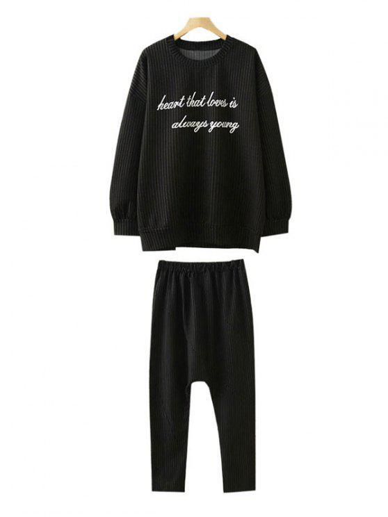 Sweat-shirt rayé et pantalon ,grande taille - Noir 2XL