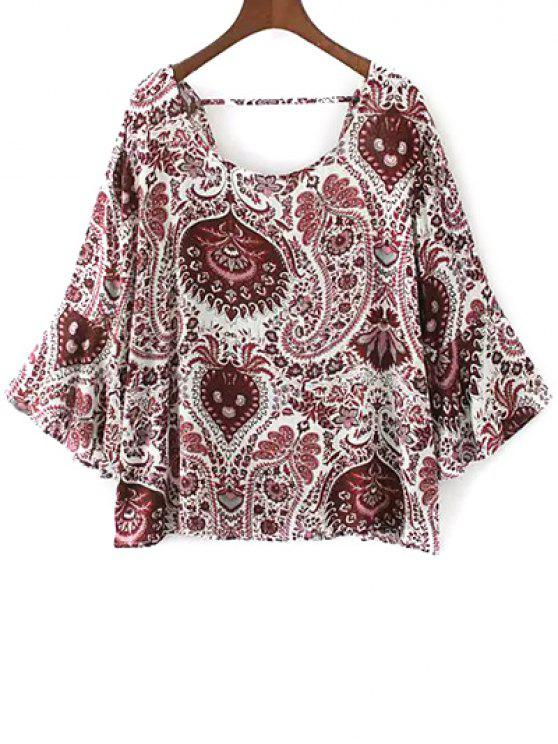 women Paisley Print Frilly Top - RED S