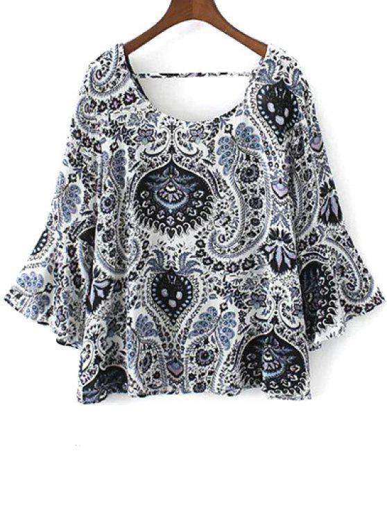 ladies Paisley Print Frilly Top - BLUE M